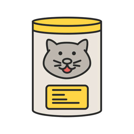 Canned cat food color icon. Isolated vector illustration