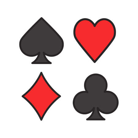 Suits of playing cards color icon. Spade, clubs, heart, diamond. Casino. Isolated vector illustration