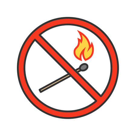 Forbidden sign with burning matchstick color icon. No lights prohibition. Isolated vector illustration