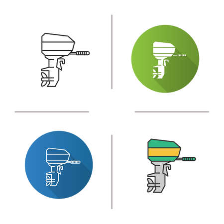 Outboard boat motor icon. Flat design, linear and color styles. Boat engine. Isolated vector illustrations