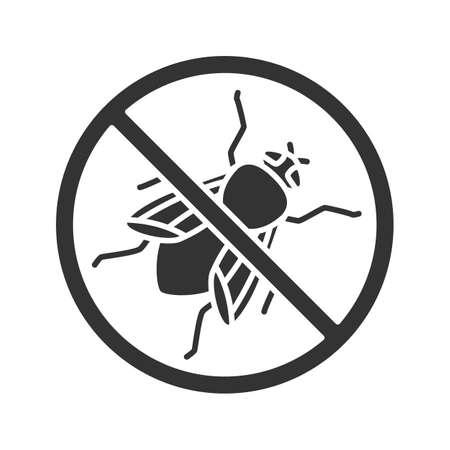 Zatrzymaj ikonę glifów znak Mucha domowa. Odstraszający owady latające. Zwalczanie szkodników. Sylwetka symbol. Negatywna przestrzeń. Ilustracja wektorowa na białym tle