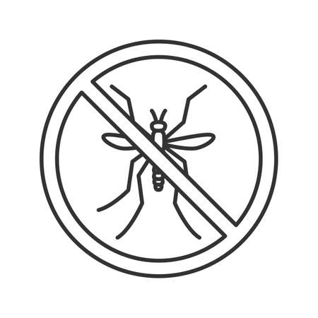 Stop mosquitos sign linear icon. Flying insects repellent. Pest control. Thin line illustration. Contour symbol. Vector isolated outline drawing