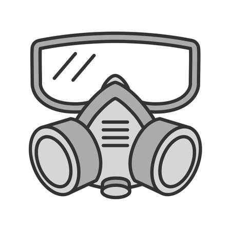 Respirator color icon. Gas mask. Pest control equipment. Isolated vector illustration