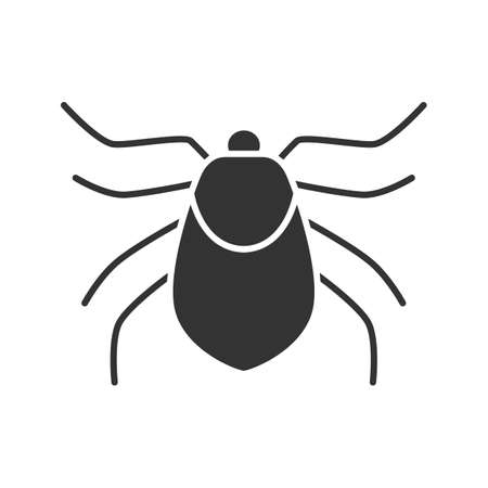 Mite glyph icon. Acari. Silhouette symbol. Insect pest. Negative space. Vector isolated illustration