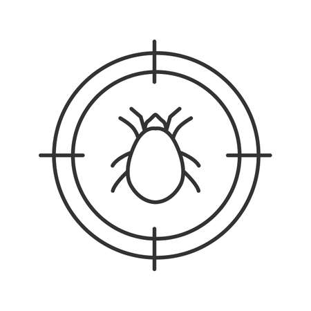 Mite target linear icon. Parasitic insects repellent. Thin line illustration. Contour symbol. Vector isolated outline drawing Illustration