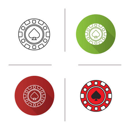 Casino chip icon. Flat design, linear and color styles. Gambling token with spade sign. Casino. Isolated vector illustrations