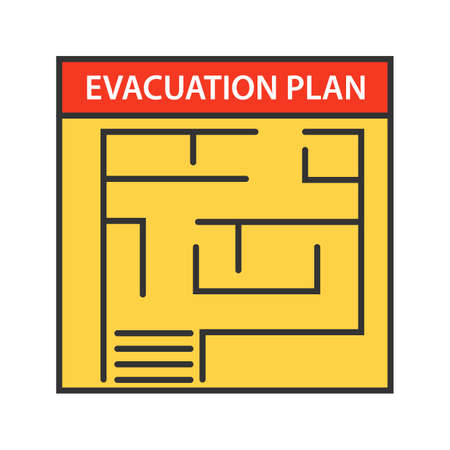 Evacuation plan color icon. Fire escape plan. Isolated vector illustration