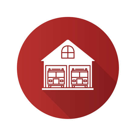 Fire station flat design long shadow glyph icon. Firehouse. Garage with two fire trucks. Vector silhouette illustration Vettoriali