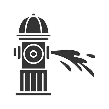 Fire hydrant gushing water glyph icon.  Fireplug. Silhouette symbol. Negative space. Vector isolated illustration