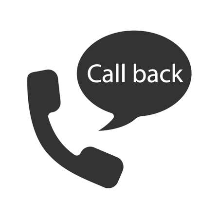 Handset and speech bubble with call back inside glyph icon. Silhouette symbol. Voice message. Negative space. Vector isolated illustration Illustration