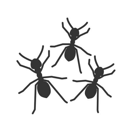 Ants glyph icon. Silhouette symbol. Negative space. Vector isolated illustration.