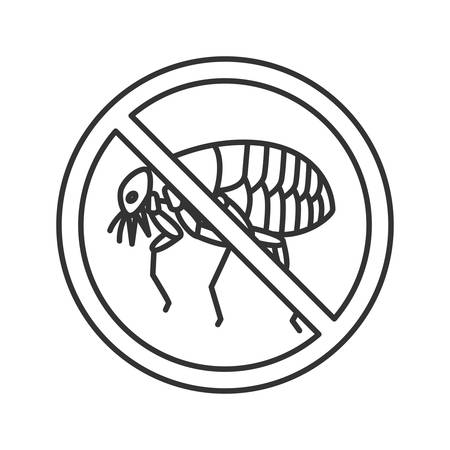 Stop fleas sign linear icon. Parasitic insects repellent. Pest control. Thin line illustration. Contour symbol. Vector isolated outline drawing.