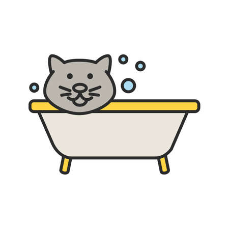 Bathing cat color icon. Grooming service. Pets hygiene. Isolated vector illustration.
