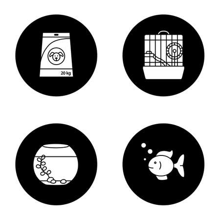 Pets supplies glyph icons set. Dog's food, aquarium, fish, hamster cage. Vector white silhouettes illustrations in black circles. Illustration