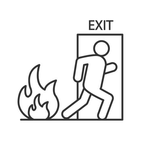 Fire emergency exit door with human linear icon.