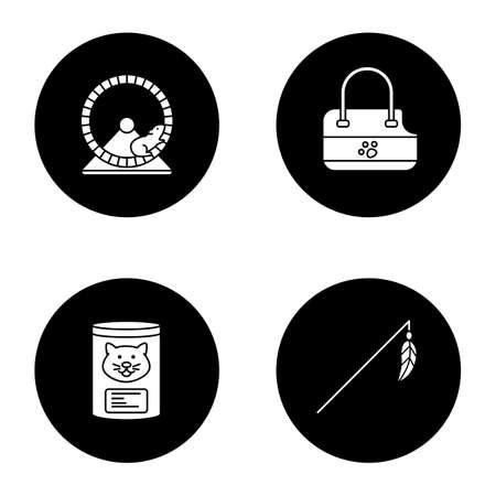 Haustiere Pflege Glyph Icons Set Standard-Bild - 99810303