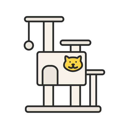 Cat's tree house color icon.