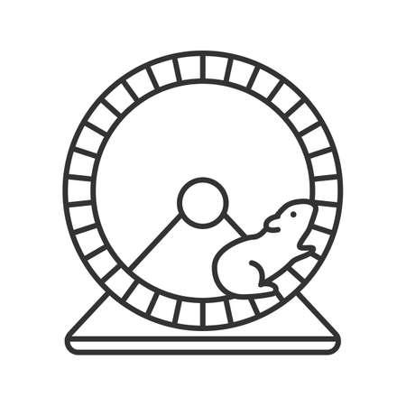 Hamsterrad lineare Symbol. Nagetierkäfig Ausrüstung. Dünne Linie Illustration. Kontursymbol. Vektor isoliert Umrisszeichnung Vektorgrafik