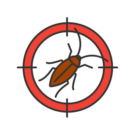 Cockroach target color icon. Pest control isolated vector illustration.