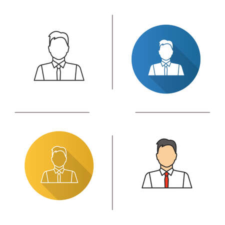 Office worker icon flat design, linear and color styles. Party maker, showman, businessman, admin, manager isolated vector illustrations.