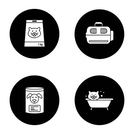 Pets supplies glyph icons set. Canned pets food, bathing cat, domestic animal carrier. Vector white silhouettes illustrations in black circles