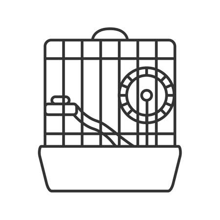 Hamster cage linear icon. Thin line illustration. Rodent wheel. Contour symbol. Vector isolated outline drawing Çizim
