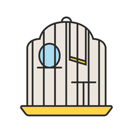 Birdcage color icon. Parrot cage. Isolated vector illustration