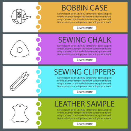 Tailoring web banner templates set. Bobbin case, sewing chalk, clippers, leather sample. Website color menu items with linear icons vector headers design concepts.