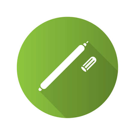 Fabric marker pen flat design long shadow glyph icon. Vector silhouette illustration