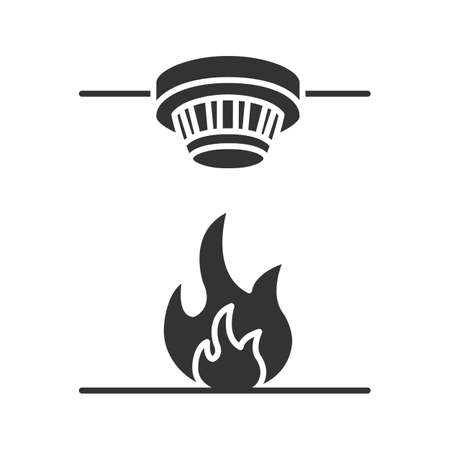 Smoke detector glyph icon. Fire alarm system. Silhouette symbol. Negative space. Vector isolated illustration Illustration