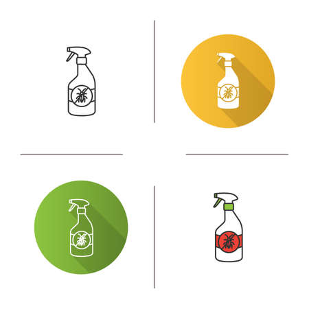 Insects repellent icon. Flat design, linear and color styles. Anti-cockroach spray. Isolated vector illustrations Illustration
