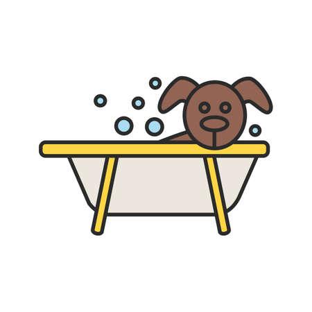 Bathing dog color icon. 일러스트