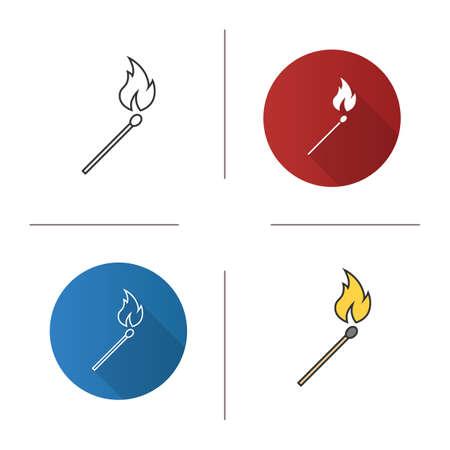 Burning matchstick icon. Illustration