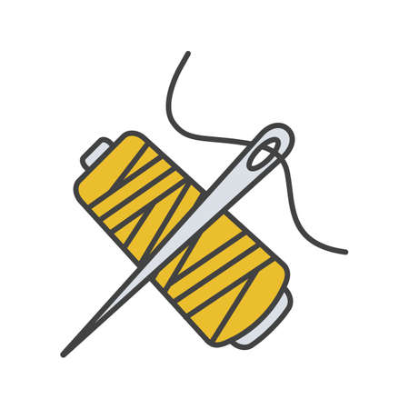 Sewing needle with thread spool color icon. Tailoring. Isolated vector illustration