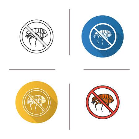 Fermare l'icona delle pulci. Controllo dei parassiti. Design piatto, stili lineari e colorati. Repellente per insetti parassiti. Illustrazioni vettoriali isolati