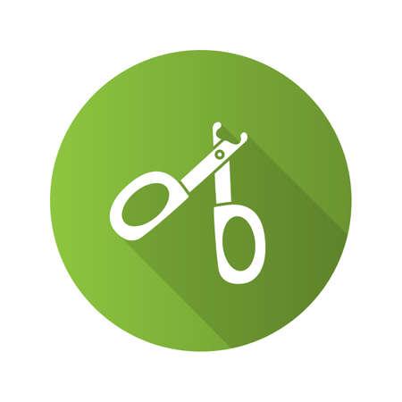 Pet nail clippers flat design long shadow glyph icon. Claw scissors. Vector silhouette illustration Ilustração