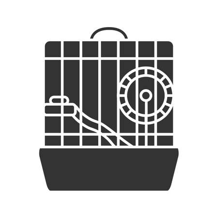 Hamster cage glyph icon. Rodent wheel. Silhouette symbol. Negative space. Vector isolated illustration Illustration