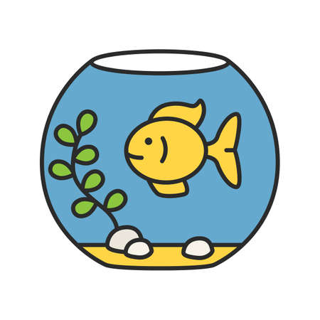Aquarium color icon. Fish tank. Isolated vector illustration
