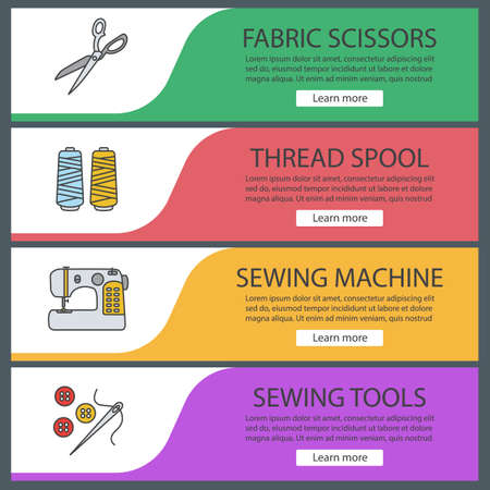 Tailoring web banner templates set. Fabric scissors, thread spool, sewing machine, needle and buttons. Website color menu items. Vector headers design concepts