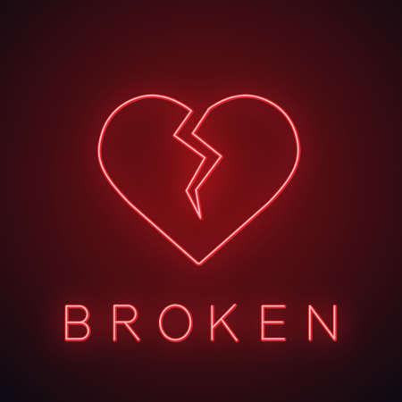 Neonlichtikone mit gebrochenem Herzen. Herzschmerz leuchtendes Zeichen. Beenden. Vektor isolierte Illustration