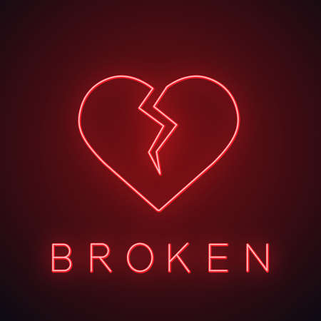 Broken heart neon light icon. Heartbreak glowing sign. Break up. Vector isolated illustration