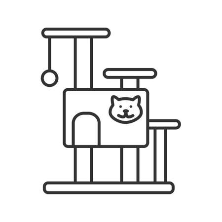 Cat's tree house linear icon. Pets furniture. Scratching post. Thin line illustration. Contour symbol. Vector isolated outline drawing