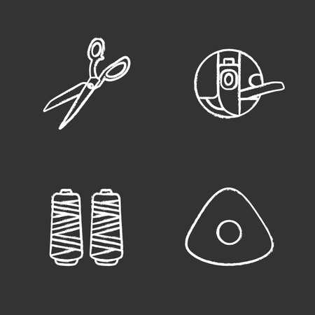 Tailoring chalk icons set. Fabric scissors, bobbin case, thread spool, sewing chalk. Isolated vector chalkboard illustrations Illustration
