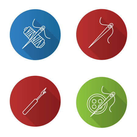 Tailoring flat linear long shadow icons set. Sewing seam ripper, needle, thread spool, buttons. Vector outline illustration