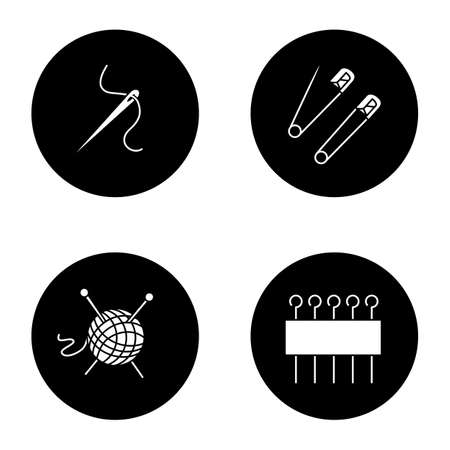 Tailoring glyph icons set. Needle with thread, safety and eye pins, knitting supply. Vector white silhouettes illustrations in black circles  イラスト・ベクター素材