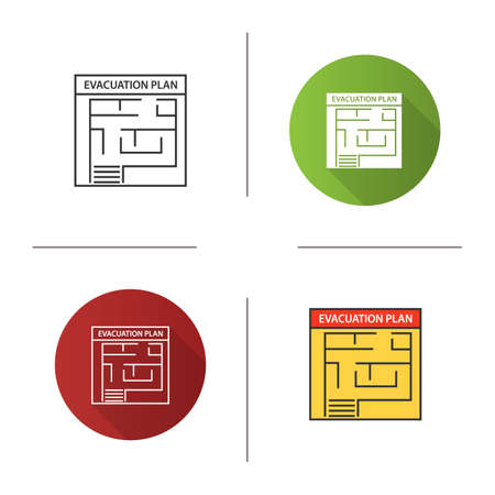 Evacuation plan icon. Flat design, linear and color styles. Fire escape plan. Isolated vector illustrations