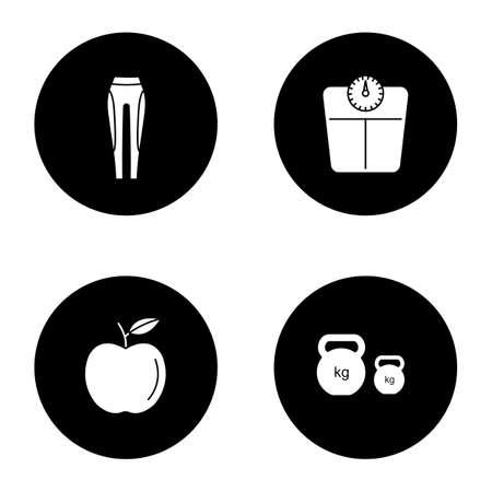 Fitness glyph icons set. Sport equipment. Leggings, bathroom scales, apple, kettlebells. Vector white silhouettes illustrations in black circles