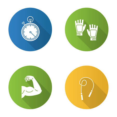 Fitness flat design long shadow glyph icons set. Sport equipment. Jump rope, bicep muscle, fingerless gym gloves, stopwatch. Vector silhouette illustration
