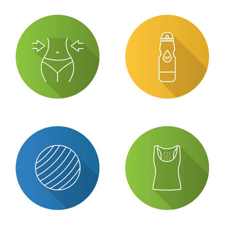 Fitness flat linear long shadow icons set.