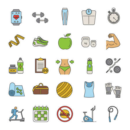Fitness color icons set. Sports equipment. Exercise machines, barbells, dumbbells, clothes. Isolated vector illustration